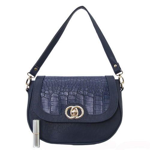 Синяя женская сумка с тиснением