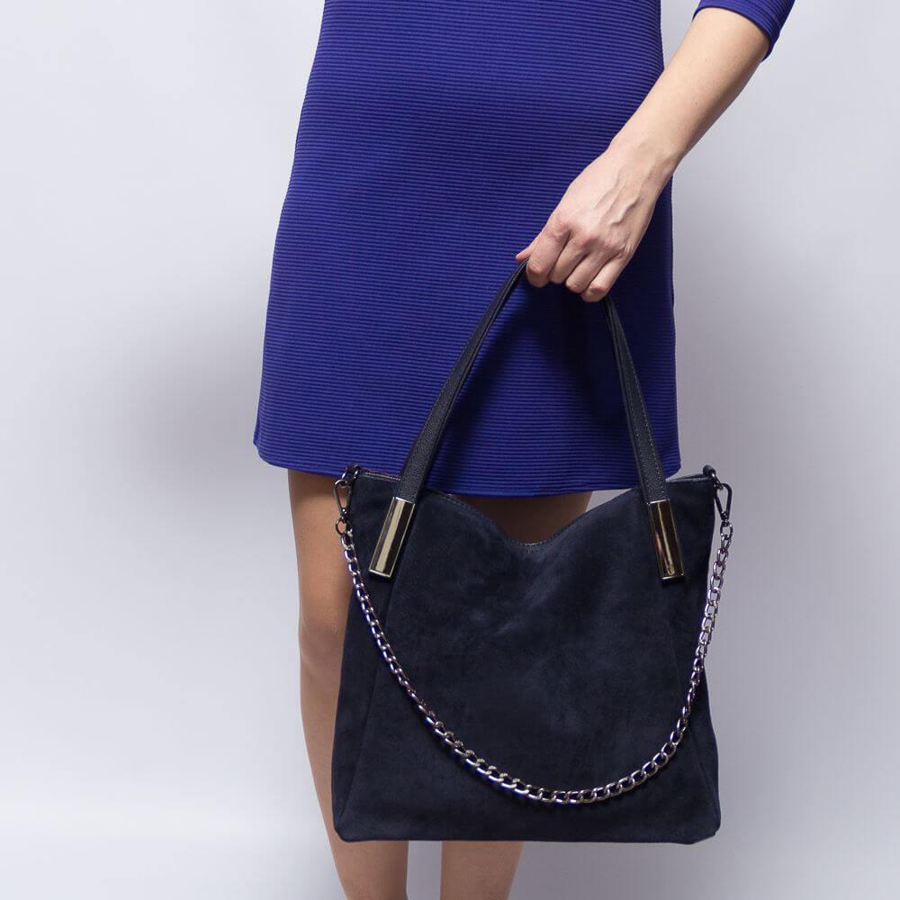 Замшевая сумочка Амэлтеа синего цвета