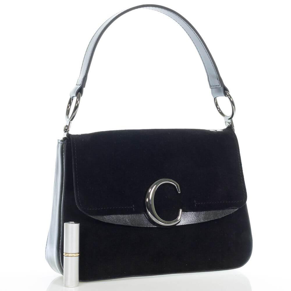 Замшевая женская сумочка на плечо Шелли