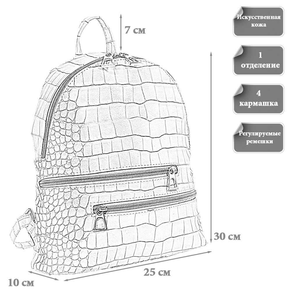 Размеры женского городского рюкзака Адели