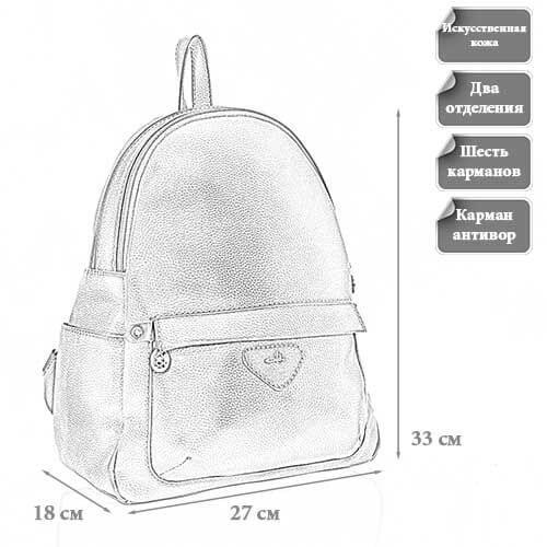 Размеры женского рюкзака Лина