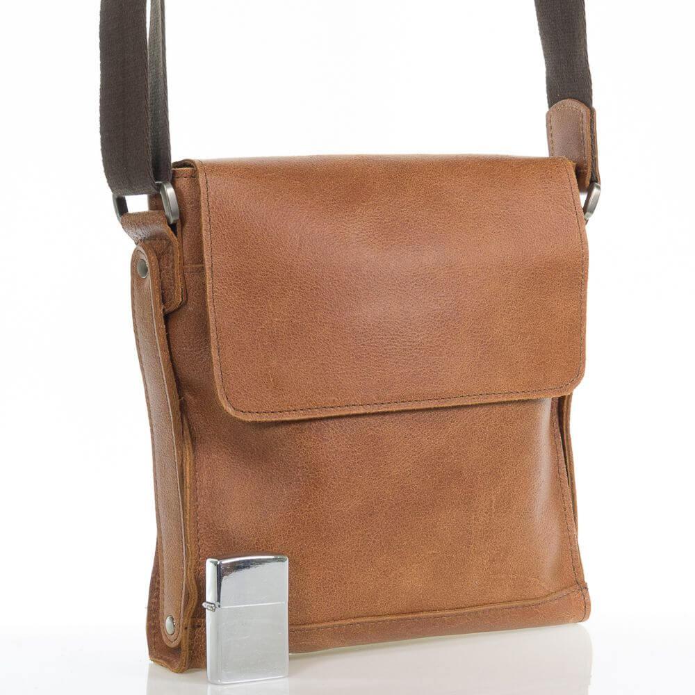 Кожаная мужская сумка на плечо Волкер