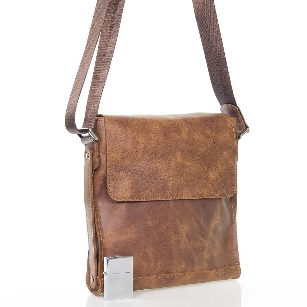 Кожаная мужская сумка на плечо Джон